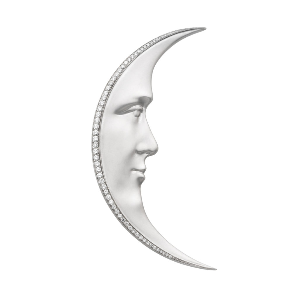 White Moon Brooch/Pendant PB-709