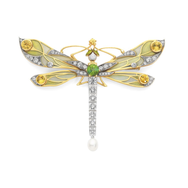 Yellow Sapphire Dragonfly Brooch/Pendant PB-730