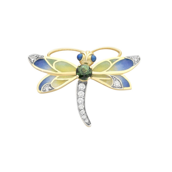 Green Tourmaline Dragonfly Brooch/Pendant PB-731