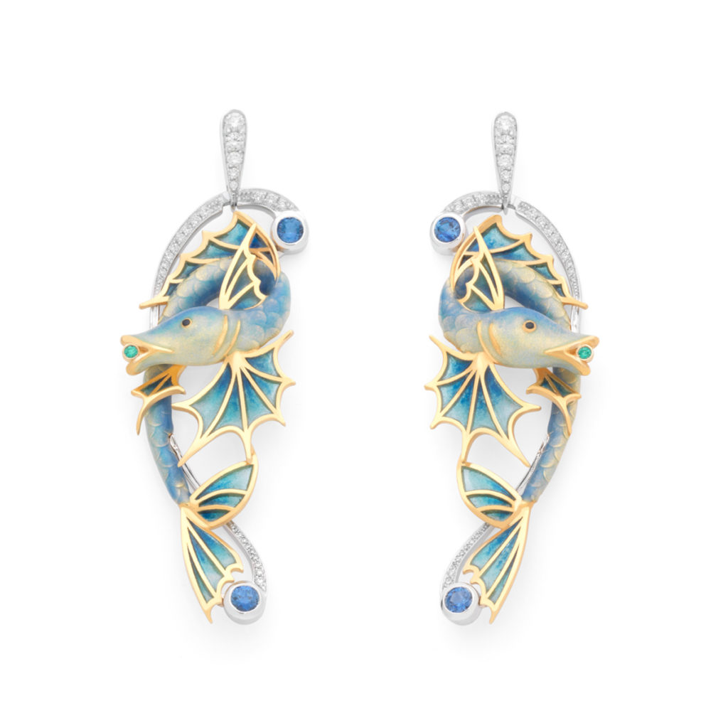 Blue Fishes Earrings AR-301