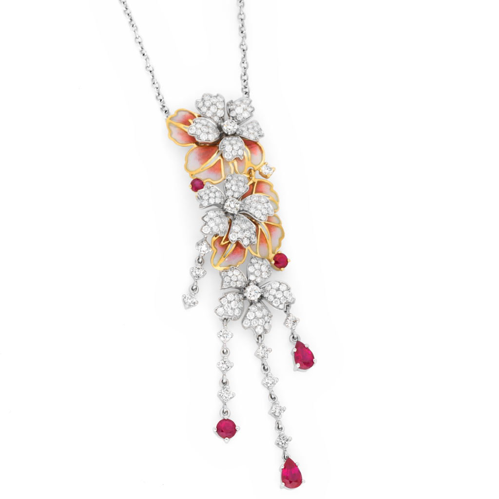 Red Cascade Bouquet Necklace CO-65